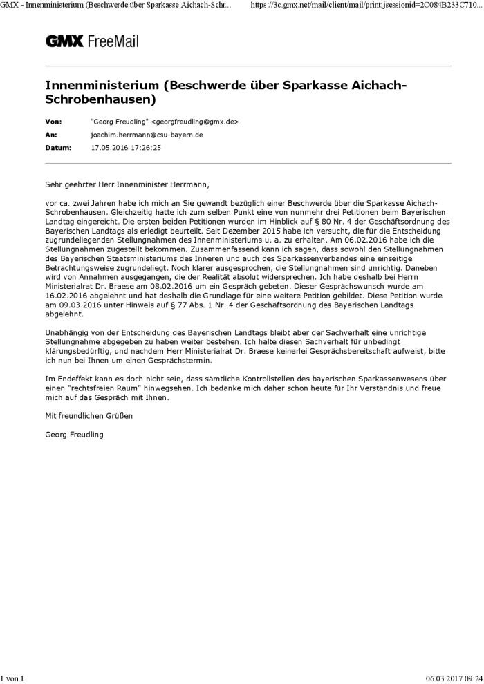 Mail an Herrn Innenminister Herrmann 17.05.2016