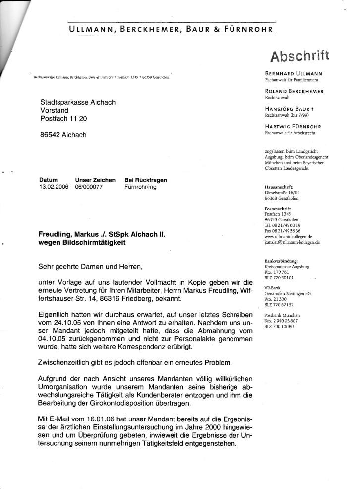 Schreiben d. RA an die SPK 13.02.2006-001